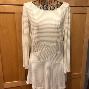 Beige by eci gold metallic striped NWOT Top size M
